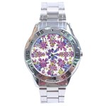 Stylized Floral Ornate Pattern Stainless Steel Analogue Watch Front