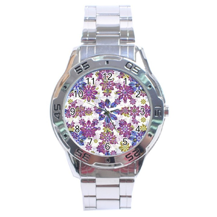 Stylized Floral Ornate Pattern Stainless Steel Analogue Watch