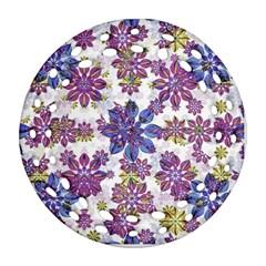 Stylized Floral Ornate Pattern Ornament (Round Filigree)