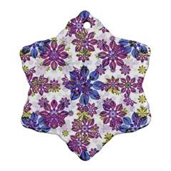 Stylized Floral Ornate Pattern Snowflake Ornament (2-Side)