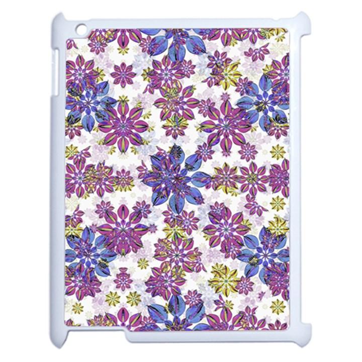 Stylized Floral Ornate Pattern Apple iPad 2 Case (White)
