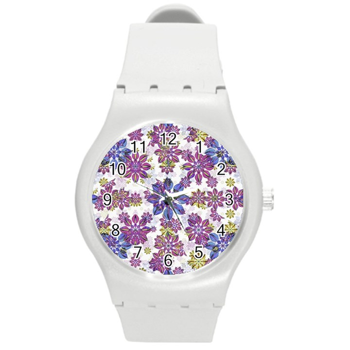 Stylized Floral Ornate Pattern Round Plastic Sport Watch (M)
