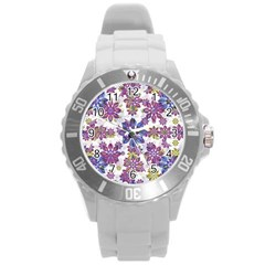 Stylized Floral Ornate Pattern Round Plastic Sport Watch (l) by dflcprints
