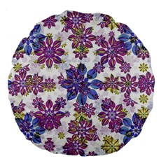 Stylized Floral Ornate Pattern Large 18  Premium Round Cushions
