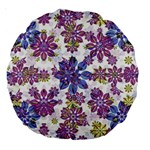 Stylized Floral Ornate Pattern Large 18  Premium Round Cushions Back