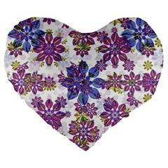 Stylized Floral Ornate Pattern Large 19  Premium Heart Shape Cushions