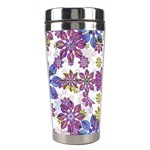 Stylized Floral Ornate Pattern Stainless Steel Travel Tumblers Right