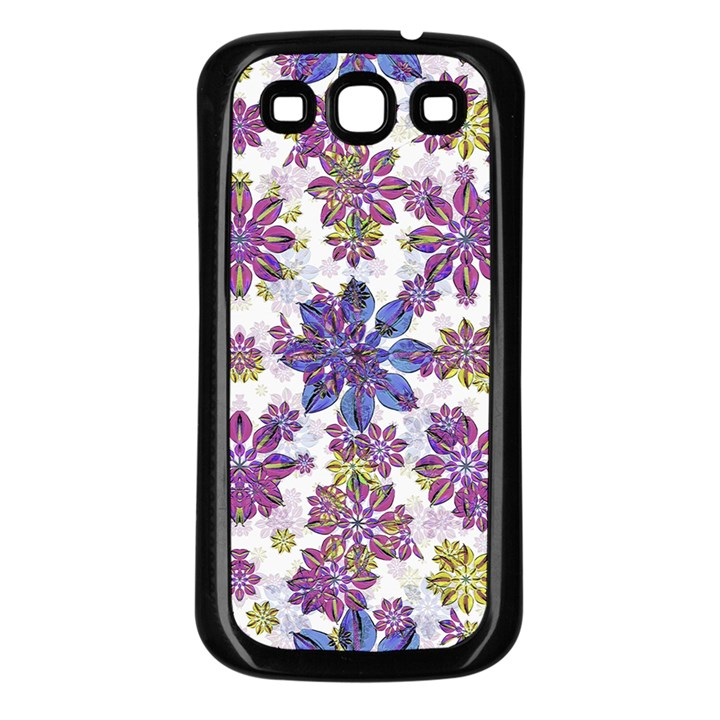 Stylized Floral Ornate Pattern Samsung Galaxy S3 Back Case (Black)