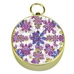 Stylized Floral Ornate Pattern Gold Compasses Front