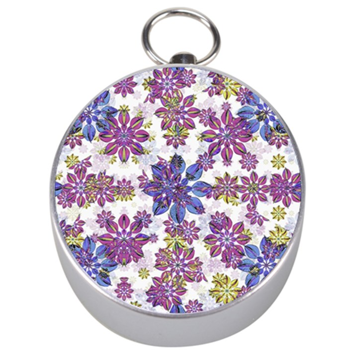 Stylized Floral Ornate Pattern Silver Compasses