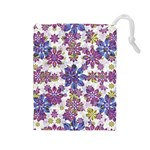 Stylized Floral Ornate Pattern Drawstring Pouches (Large)  Front