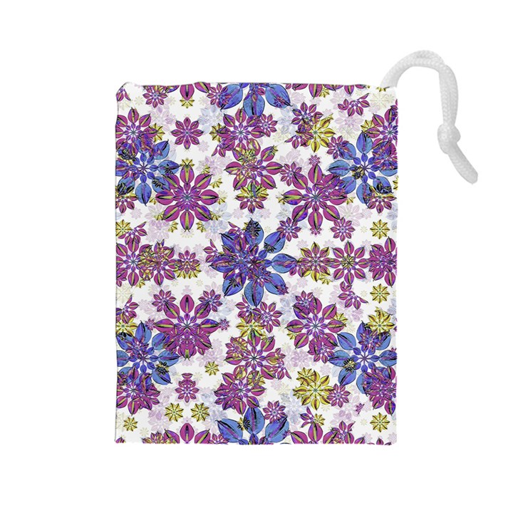 Stylized Floral Ornate Pattern Drawstring Pouches (Large)