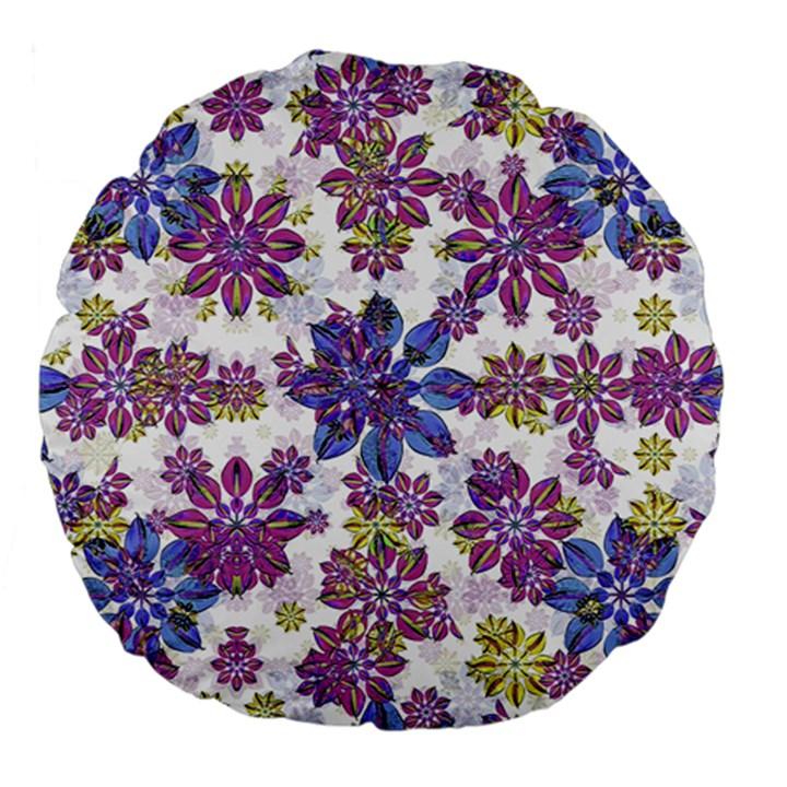 Stylized Floral Ornate Pattern Large 18  Premium Flano Round Cushions