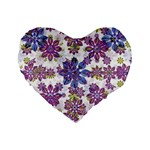 Stylized Floral Ornate Pattern Standard 16  Premium Flano Heart Shape Cushions Front