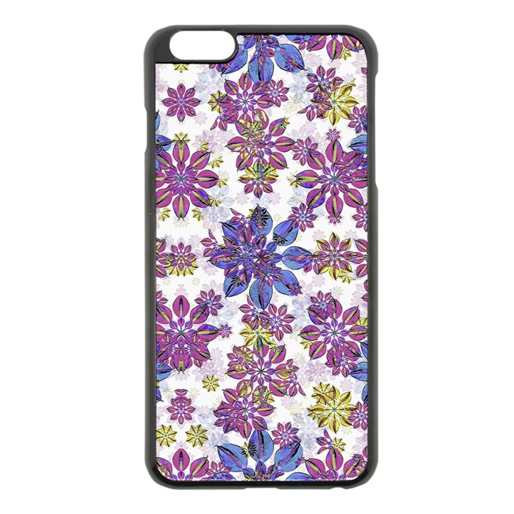 Stylized Floral Ornate Pattern Apple iPhone 6 Plus/6S Plus Black Enamel Case