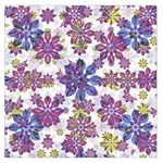 Stylized Floral Ornate Pattern Large Satin Scarf (Square) Front
