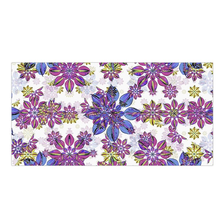 Stylized Floral Ornate Pattern Satin Shawl