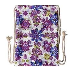 Stylized Floral Ornate Pattern Drawstring Bag (large) by dflcprints