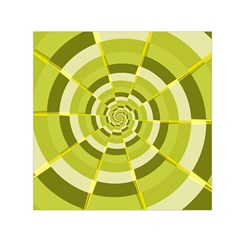 Crazy Dart Green Gold Spiral Small Satin Scarf (square) by designworld65
