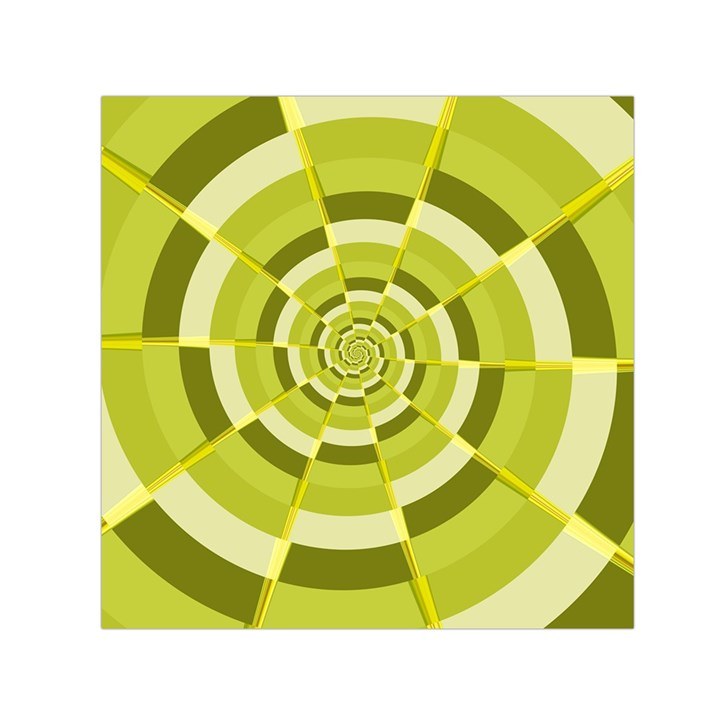 Crazy Dart Green Gold Spiral Small Satin Scarf (Square)