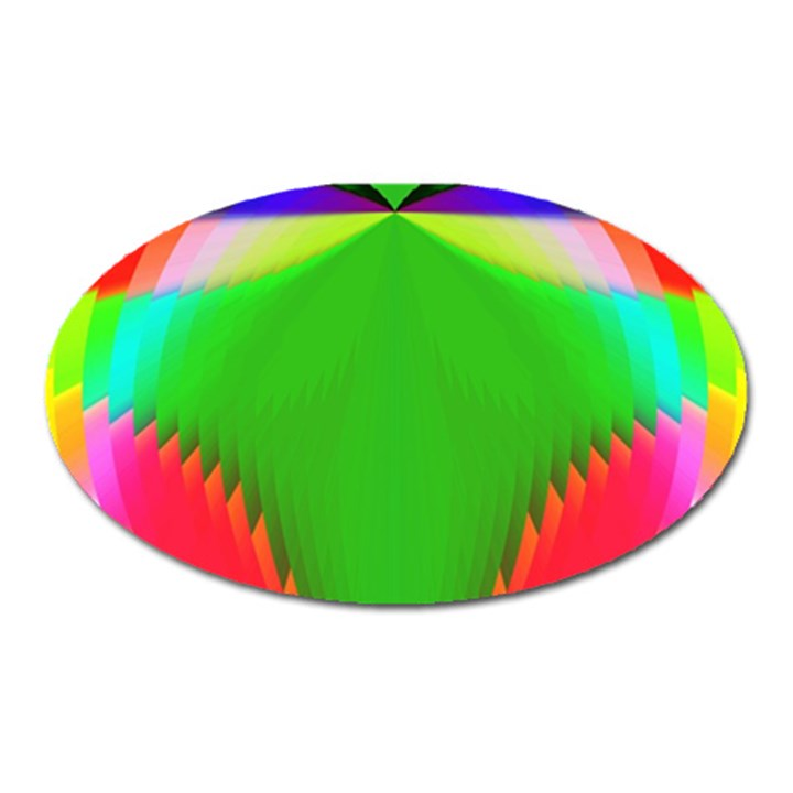 Colorful Abstract Butterfly With Flower  Oval Magnet