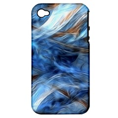 Blue Colorful Abstract Design  Apple Iphone 4/4s Hardshell Case (pc+silicone) by designworld65