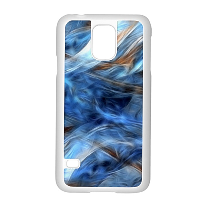 Blue Colorful Abstract Design  Samsung Galaxy S5 Case (White)