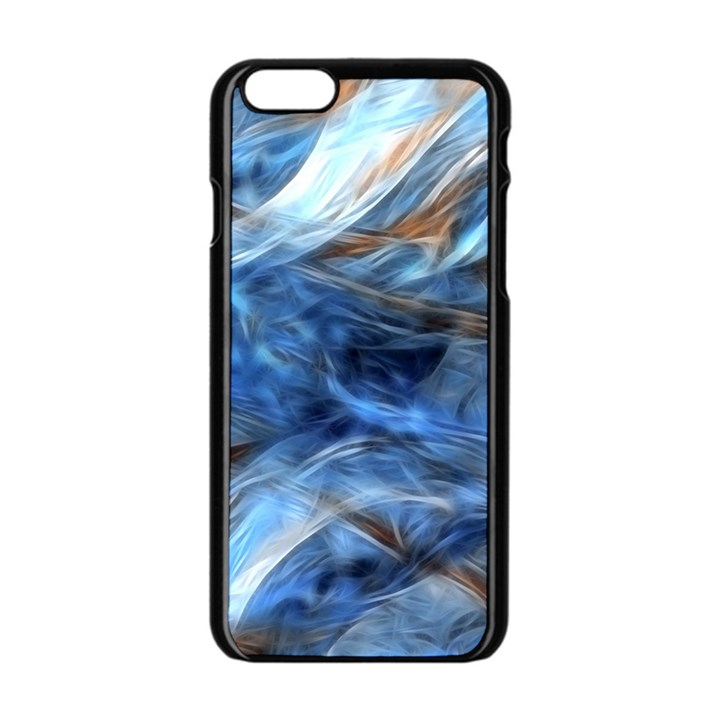 Blue Colorful Abstract Design  Apple iPhone 6/6S Black Enamel Case