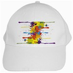 Crazy Multicolored Double Running Splashes White Cap