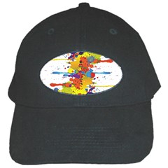 Crazy Multicolored Double Running Splashes Black Cap by EDDArt