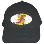 Crazy Multicolored Double Running Splashes Black Cap Front