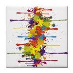 Crazy Multicolored Double Running Splashes Tile Coasters Front