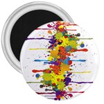 Crazy Multicolored Double Running Splashes 3  Magnets Front