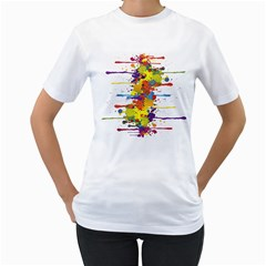 Crazy Multicolored Double Running Splashes Women s T Shirt (white) (two Sided)