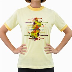 Crazy Multicolored Double Running Splashes Women s Fitted Ringer T Shirts