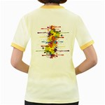 Crazy Multicolored Double Running Splashes Women s Fitted Ringer T-Shirts Back