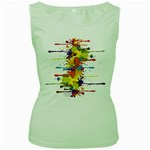 Crazy Multicolored Double Running Splashes Women s Green Tank Top Front