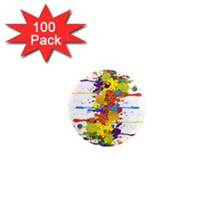 Crazy Multicolored Double Running Splashes 1  Mini Magnets (100 Pack)