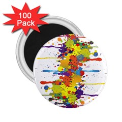 Crazy Multicolored Double Running Splashes 2 25  Magnets (100 Pack)