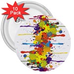 Crazy Multicolored Double Running Splashes 3  Buttons (10 pack)  Front