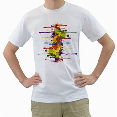 Crazy Multicolored Double Running Splashes Men s T Shirt (white) (two Sided)