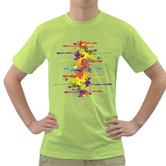 Crazy Multicolored Double Running Splashes Green T Shirt