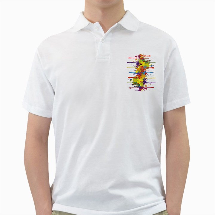 Crazy Multicolored Double Running Splashes Golf Shirts