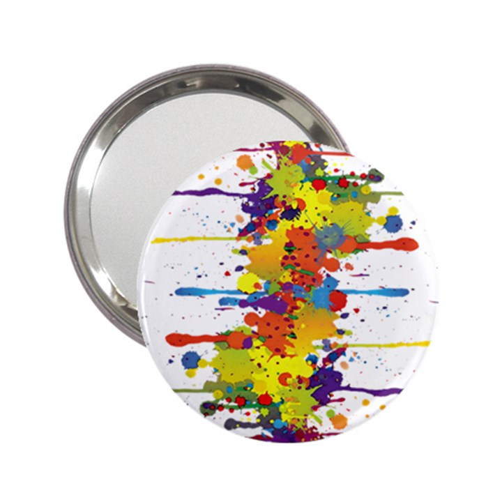 Crazy Multicolored Double Running Splashes 2.25  Handbag Mirrors