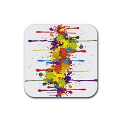 Crazy Multicolored Double Running Splashes Rubber Coaster (square)