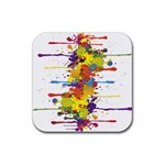 Crazy Multicolored Double Running Splashes Rubber Coaster (Square)  Front