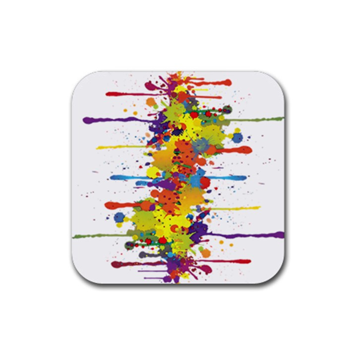 Crazy Multicolored Double Running Splashes Rubber Square Coaster (4 pack)