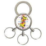 Crazy Multicolored Double Running Splashes 3-Ring Key Chains