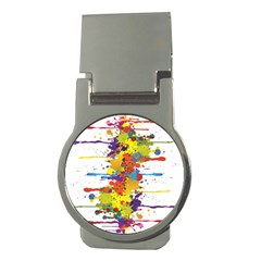 Crazy Multicolored Double Running Splashes Money Clips (round)  by EDDArt