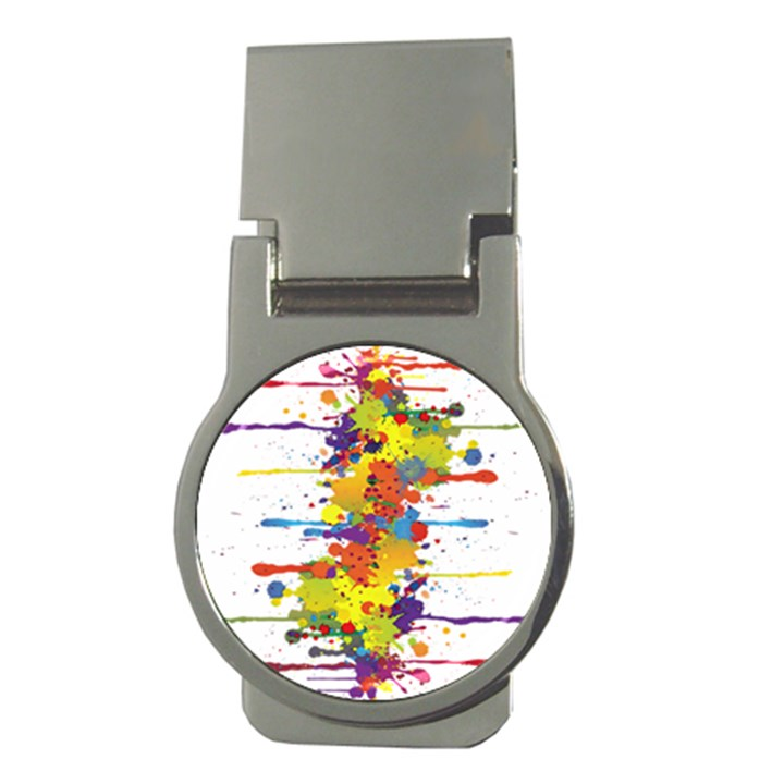 Crazy Multicolored Double Running Splashes Money Clips (Round)